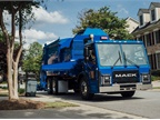 Mack Trucks is making several enhancements to the LR refuse truck, including improved driver comfort features, tires, and pre-wiring for Lytx video telematics. Photo: Mack Trucks