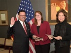 U.S. Secretary of Transportation Elaine Chao (far right) swears in Raymond Martinez as Administrator of the Federal Motor Carriers Safety Administration. Photo: U.S. DOT