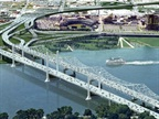 Artist rendering of the new Downtown Crossing and the Kennedy Bridge. Credit: Kentucky-Indiana Tolling Body