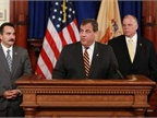 Gov. Christie speaking at announcement of fuel-tax deal with Assembly Speaker Vincent Prieto (left) and State Senate President Steve Sweeney (right) looking on. Photo: New Jersey Governor's Office/Tim Larsen