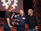 Euler on stage accepting his award for Grand Champion of the Rush Technician Rodeo. Photo: Rush Truck Centers