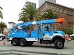 Photos courtesy of PG&E.A Peterbilt/Allison Transmissions Class 8 electric hybrid material handler truck.