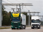 Overhead lines, like these in Siemens' Swedish demo eHighway, will provide power for trucks. Photo: Siemens