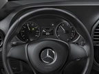 The 2016 Metris instrument cluster features indicators for Crosswind Assist and Attention Assist. Photo courtesy of Mercedes-Benz.