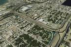 The I-4 / Selmon Expressway Connector is shown in this computer-enhanced drawing running diagonally across the photo frame. Interstate 4 is to the right in the photo; the Selmon Expressway is to the upper left.