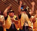 Teamster convention delegates cheer during the passage of the democracy package of constitutional amendments.