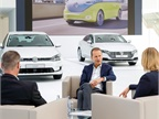 Newly named Volkswagen CEO Herbert Diess (center) speaks at a technology conference in Germany last year. Photo: Volkswagen