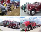 "Walcott Truckers Jamboree highlights: Trucker olympics, top left; antique trucks, top right; Super Truck Beauty Contest winners ""Marooned,"" bottom left, and ""Liquid Chicken,"" bottom right."