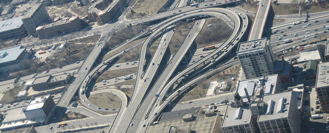 An aerial shot of top-ranked spaghetti junction in Chicago, obviously taken at a non-congested time.
