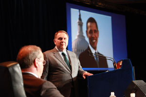 Teamsters General President Jim Hoffa announced the union's endorsement of President Barack Obama for re-election in 2012. (Photo courtesy of the International Brotherhood of Teamsters)