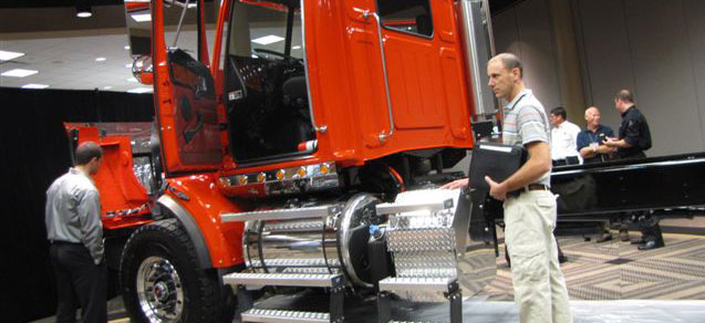 Members of the National Truck Equipment Association check out a rugged Western Star 4900-109 displayed at the 2010 Product Conference. It was the builder's first appearance at an NTEA meeting. (Photo by Tom Berg)