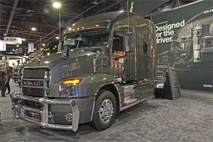 Mack showed off its new Anthem highway tractor, unveiled to the press