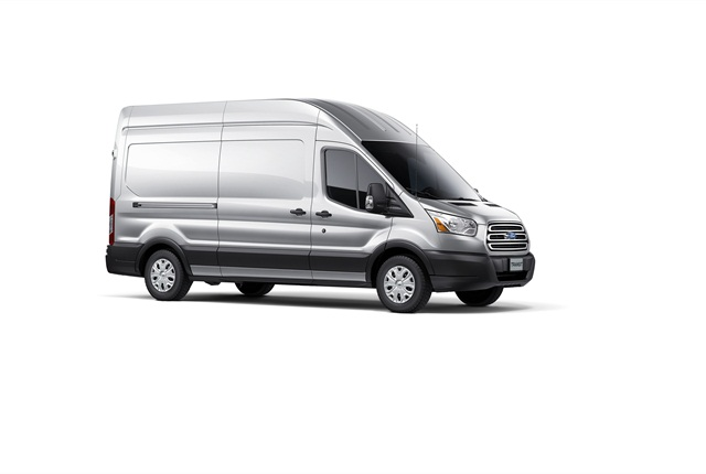 The Ford Transit has a front engine, rear-drive layout and will offer two wheelbases, three body heights and three body lengths. This is the high-roof model.