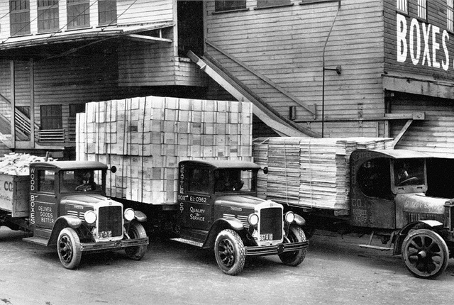 1920s: The 1920s saw many innovations in truck design. This early fleet illustrates the transition from solid to pneumatic tires and from open to enclosed cabs.