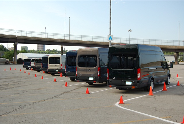 Ford offered its full line up of 2015 Transit vans for testing in a closed course next to Kemper Arena in Kansas City.