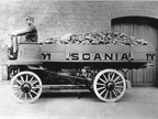 Scania's first truck dating from 1902. It carried 1.5 tons of cargo and was equipped with a 2-cylinder, 12-horsepower engine placed under the driver's seat. Top speed was 12 km/h.