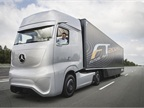 Daimler Trucks head Wolfgang Bernhard at the helm of the concept truck illustrating the company's vision of the future.