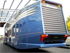 The rear view of the  aerodynamically optimized road train  from MAN