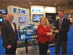 Ryan Trzybinski, left, Eaton global product strategy manager-linehaul,