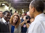 President Barack Obama greets  Pretty Willie  Willie Carter after