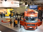 Upcoming Volvo partner Chinese Dongfeng Commercial Vehicles exhibited at IAA for the first time ever. On the floor were three main truck models covering medium and heavy trucks for long distance transport, medium distance transport and city transport.