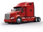 The cab and hood of the Peterbilt Model 579 UltraLoft are the same as