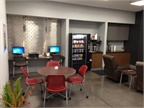 This customer lounge at Mid-State Truck Service features a variety of