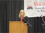 Ellen Voie speaking at the Women In Trucking meeting on Saturday