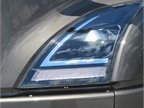 LED headlights, clearly inspiredby  the SuperTruck, are bright and