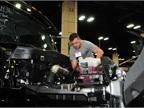 Tech Alex Loar looks over an air intake issue on a Navistar Lonestar