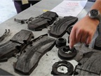 These beaten and battered brake pads are fresh from the field, having