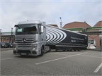 One of three Mercedes Benz Actros cabovers that jointly demonstrated Daimler's semi-autonomous platooning technology on the Autobahn near Dusseldorf, Germany, in late March. Photo: David Cullen