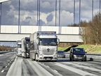 Three-truck platoon of semi-autonomous Mercedes Benz Actros cabovers