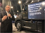 David Purdue, Mack Truck's connected vehicle manager, briefs the