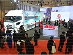 The UD Trucks booth setup, with UD on one side and Volvo on the other.