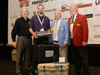 From left: George Arrants, chairman of TMC's technician competition task force; FedEx Freight's Eric Vos, TMCSuperTech 2015 champion; Mike Meredith, chairman of TMC's Protessional Technician Development Committee; and Kevin Tomlinson, TMC general chairman. Photo: TMC