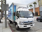 Hino showed its 195h diesel-electric hybrid Class 5 cabover.