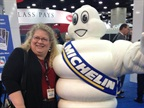 Editor in chief Deborah Lockridge with the Michelin Man at MATS.