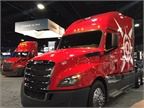 Fleet customer trucks on display at freightliner booth. Photo: Deborah