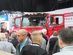 Attendees mob the Hino XL8 after its reveal. Hino said the truck is