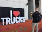 The  I heart trucks  display near the exhibit entrance was a perfect