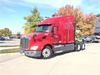 A fuel-economy-spec d Peterbilt Model 579 away US Xpress headquarters.