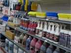 Impulse buys including cleaning supplies are still on display but not