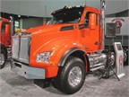Kenworth latest, the T880, is the successor to the venerable T800. It features the same 2.1-meter-wide cab as the T680, and can accommodate heavy front and rear axles as well as multi-axle set ups. It comes standard with the MX13 engine with ratings up to 500 hp and 1850 lb.