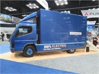 Side view of Mitsubishi Fuso s eCanter plug-in electric truck cioming