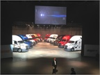 Toby Faulkner, director of New Cascadia development, presents 12 of the first trucks representing the top 12 fleets in North America.
