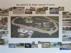A sign inside the Technical Center hghlights the test track features.