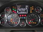 The dash display offers warnings and incentives to drivers. Fuel