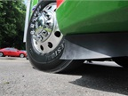 Soft rubber side skirt extenders help to close the gap under the truck