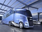 "The huge IAA commercial truck show in Hanover, Germany, in 2012, included this eye magnet, the ""aerodynamically optimized road train"" from MAN and Krone, both prominent vehicle builders in Europe."
